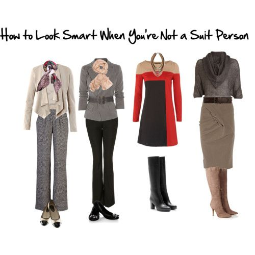 """Five quick tips on how to """"dress smart"""" for work when you're not wearing a suit. Find clothes that have: a collar, are structured, feature sleeves, neutral colors, and are classic in styling."""