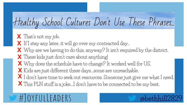 "🌟Bethany Hill 🌟 on Twitter: ""Healthy school cultures don't use these phrases: #JoyfulLeaders #CultureEd #EduAr #kidsdeserveit #leadupchat https://t.co/UbRrdKfS3Q"""