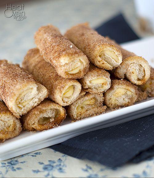Cream Cheese Rollups with Cinnamon Sugarhttp://www.heatovento350.com/2013/02/cream-cheese-rollups-with-cinnamon-sugar.html