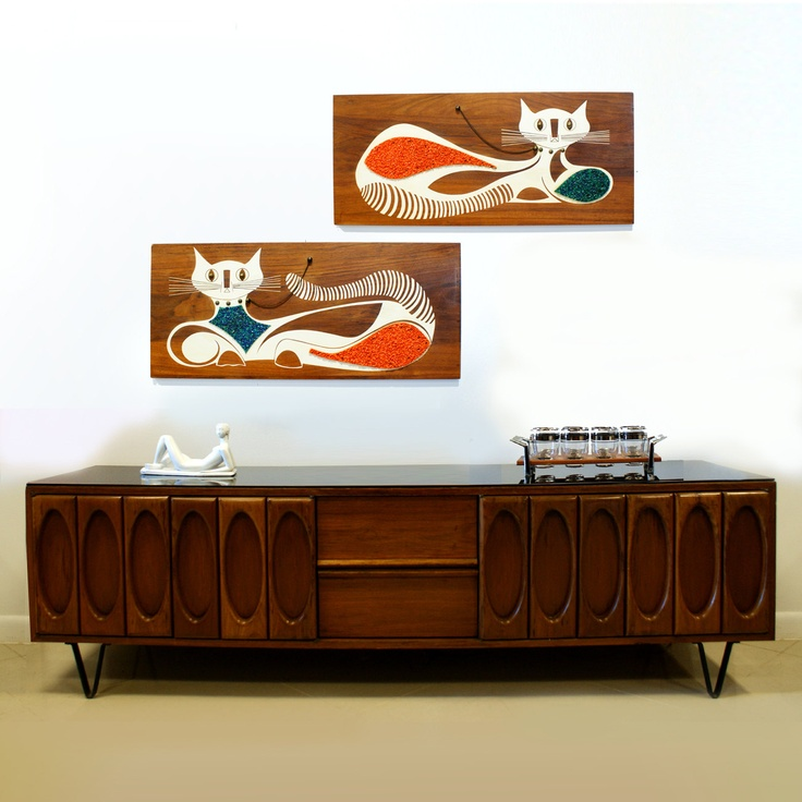 SALE Large Cat Screen Print Set Mid Century Modern 15% off with coupon code November  . $550.00, via Etsy.