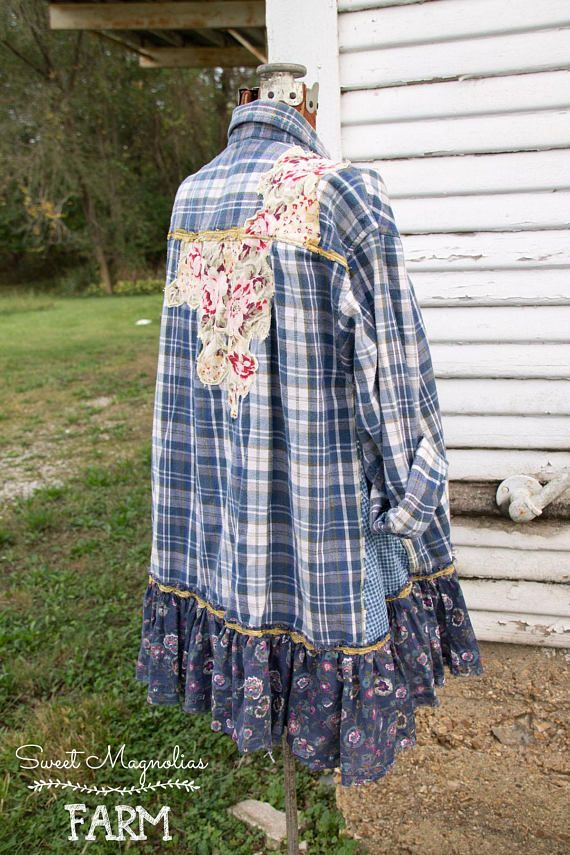 Farm Girl Fancies by: Sweet Magnolias Farm This gorgeous flannel shirt was designed here at the farmhouse In A- Line Style for all of us curvy gals that like a loose but flowing fit ... Perfection paired with Jeans, Skirt, or leggings .. Wear buttoned up as a shirt or over a Tee