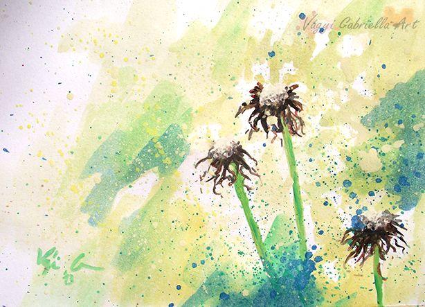 Elfújta a szél című akvarell festmény - Megvásárolható a linkre kattintva #art #painting #akvarell #aquarell #pitypang #dandelion