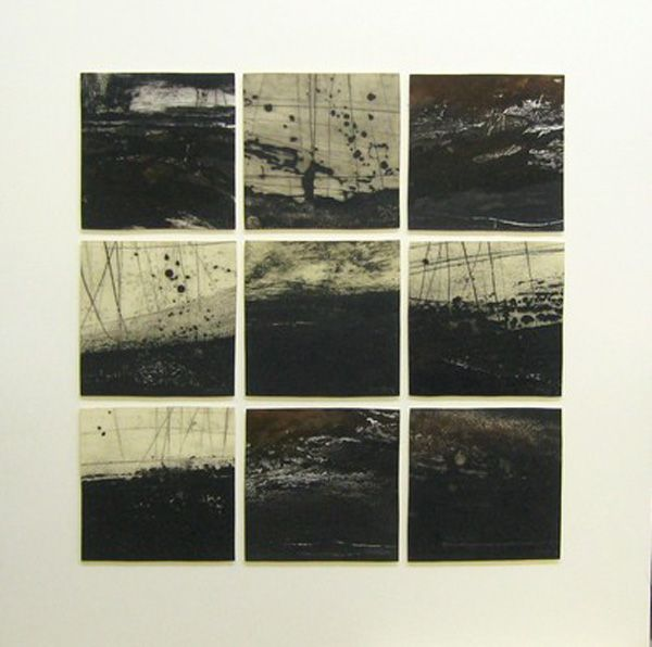 Ross Loveday: November Landscape Monoprint Drypoint - carborundum print