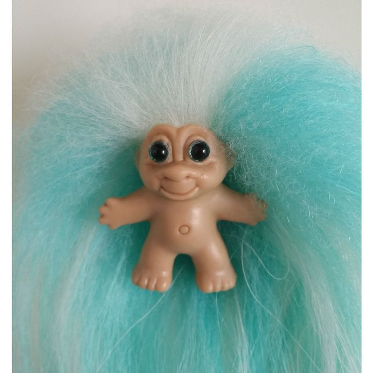Vintage DAM 1989 Pencil Topper Troll Doll OOAK Trolls Teal White Mohair #ThomasDam #Dolls