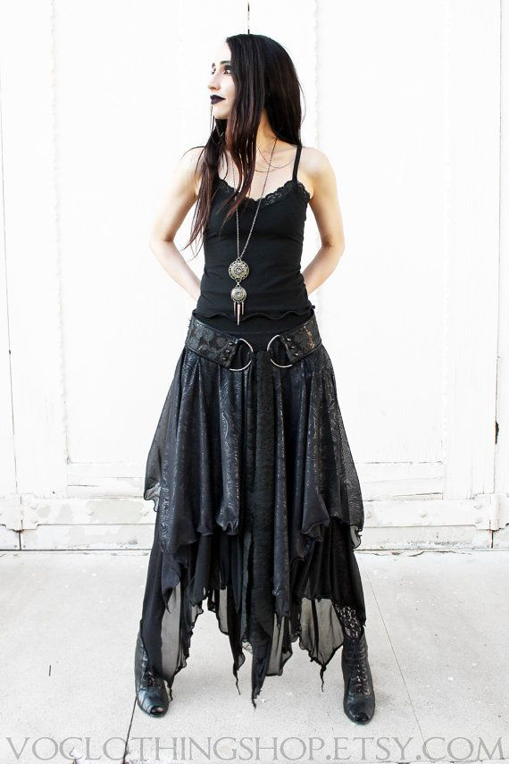 WITCHY LAYERED MESH long sheer skirt limited by voclothingshop