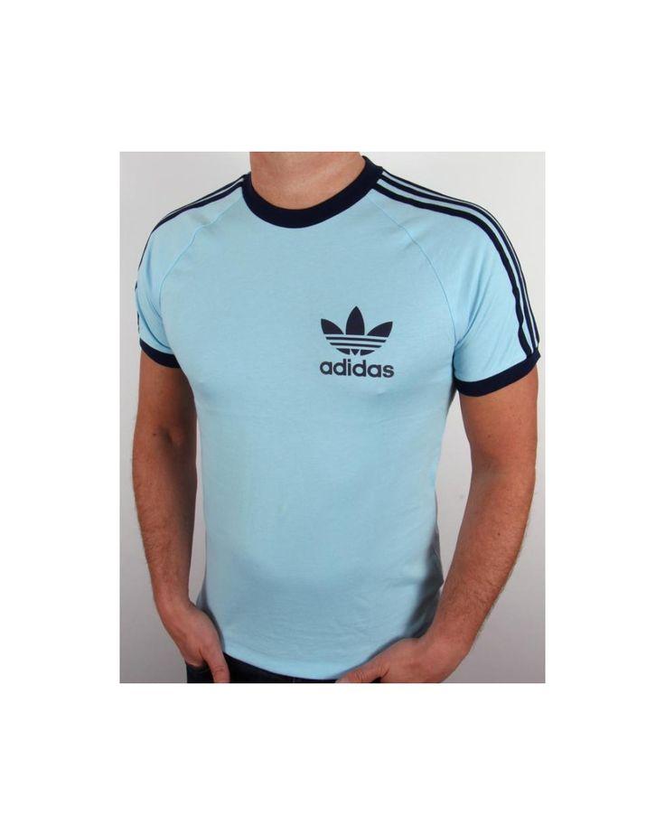 Adidas Originals Trefoil 3 Stripes T-shirt Sky Blue,retro,california,tee
