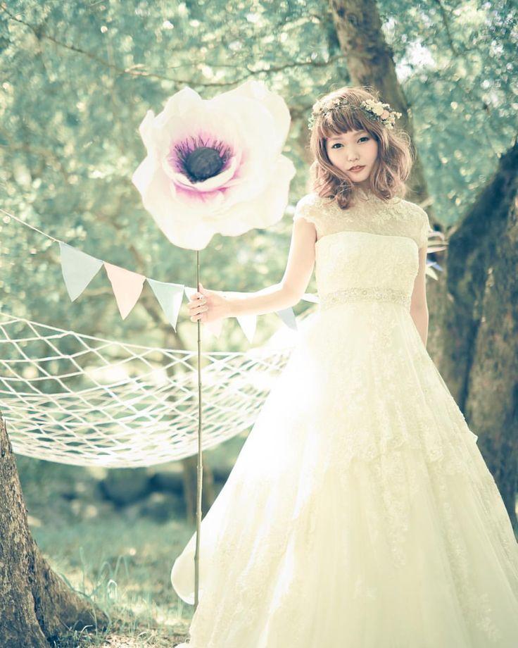 プレ花嫁 #ウェディングドレス #森 #ナチュラル #花冠♡
