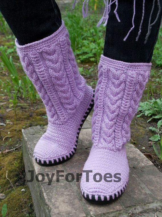 Crochet Boots Knitted Shoes Outdoor Boots Boho Ugg Handmade shoes Fall fashion accessories Gifts for her Lilac Tenderness MADE to ORDER