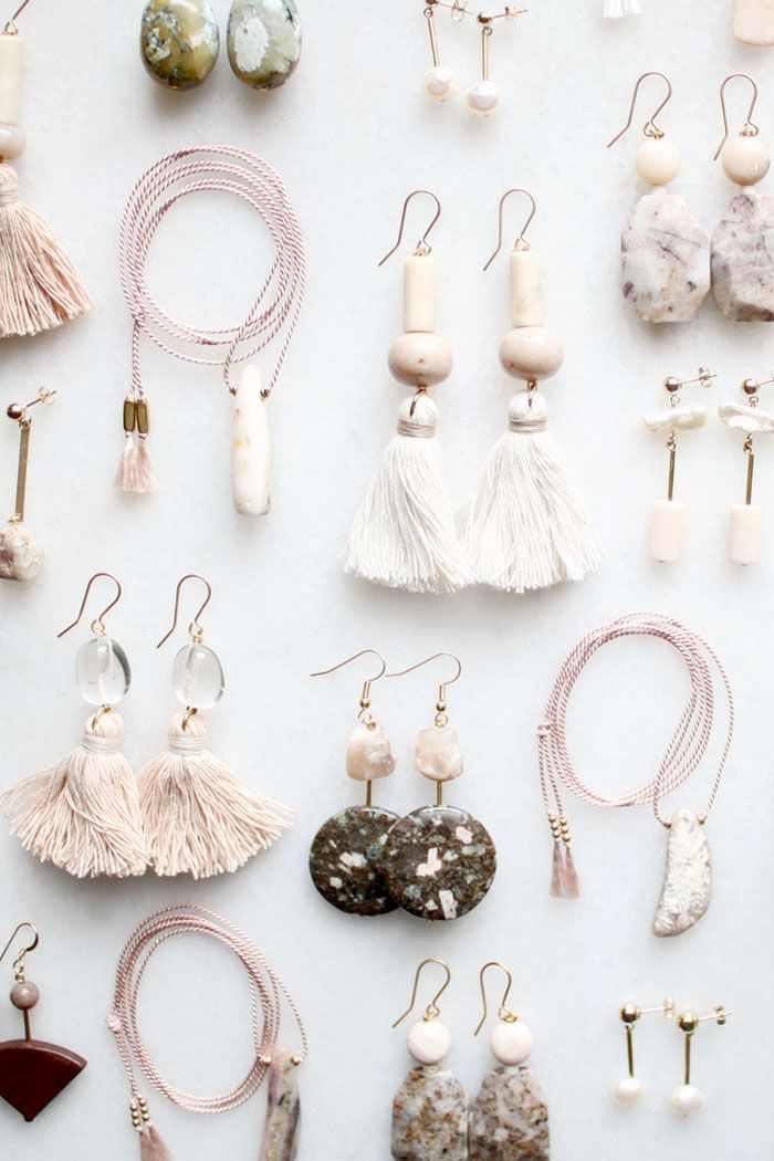 Semi-precious earrings with pink opal, quartz and moonstone