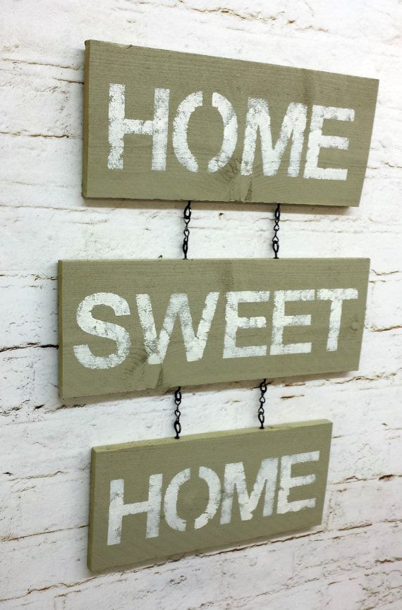 Home Sweet Home sign wall hanging rustic shabby chic tan home decor ...