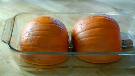 step by step instructions on how to roast a pumpkin for all of your pumpkin recipes:  discard seeds, slice in half, place small pie pumpkin face down in large baking dish and bake at 350 for 45-60 minutes.  from www.elanaspantry.com