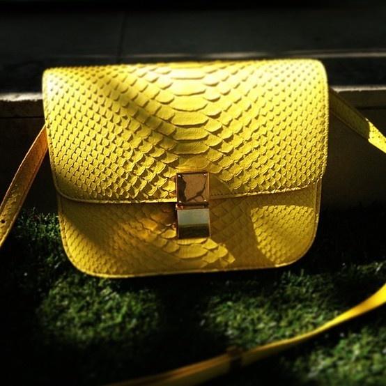 Celine Box Bag in yellow lizard
