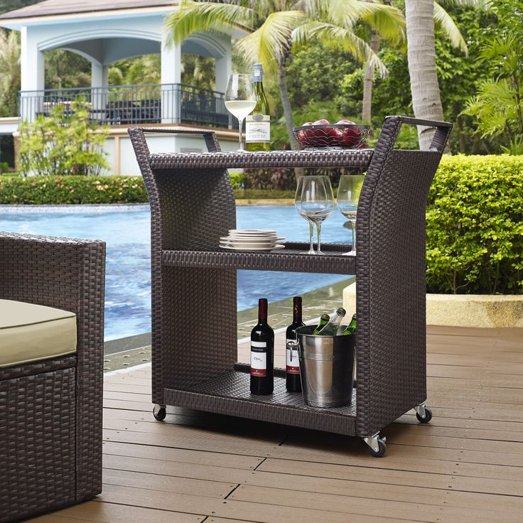 Palm Harbor Outdoor Patio/Poolside Wicker Bar Cart By Crosley