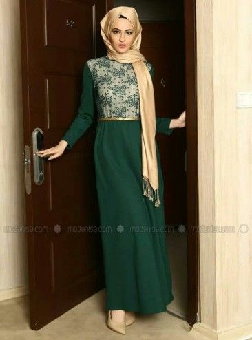 Green dress and gold scarf | Hijabista #110