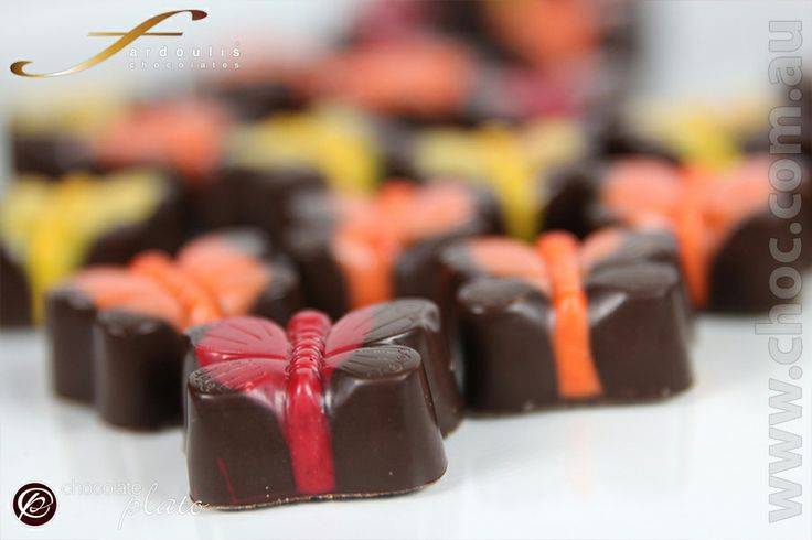 Chocolate butterflies made with couverture chocolate. Australian made in Sydney. Colour your day with chocolate gifts for mum, luxury , divine and delicious chocolate.