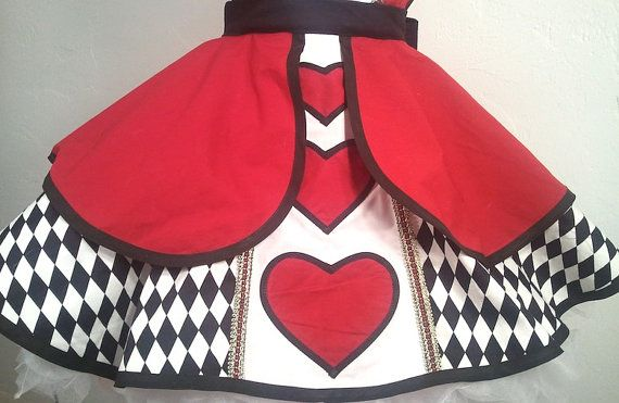 Plus Size Queen Of Hearts Pin Up Costume Apron by PickedGreen, $130.00