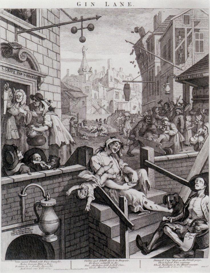 Gin Lane, Engraving, William Hogarth, 1751, British Museum, London.