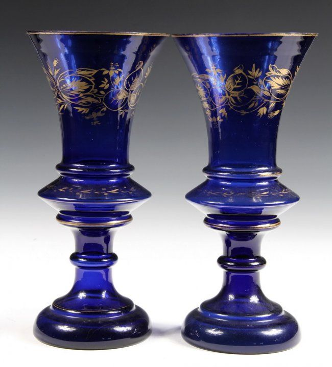 PAIR OF GLASS MANTEL VASES - Cobalt Glass Baluster Urn : Lot 1058. Circa 1850.