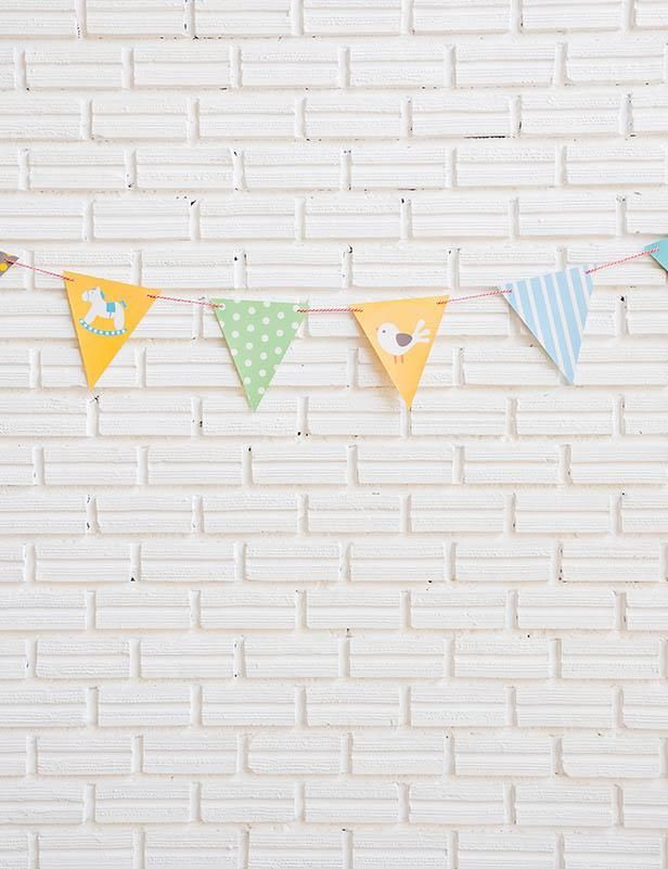 Milk White Brick Wall With Party Flag Photography Backdrop Brick Wall Brick Backdrops Kindergarten Artwork