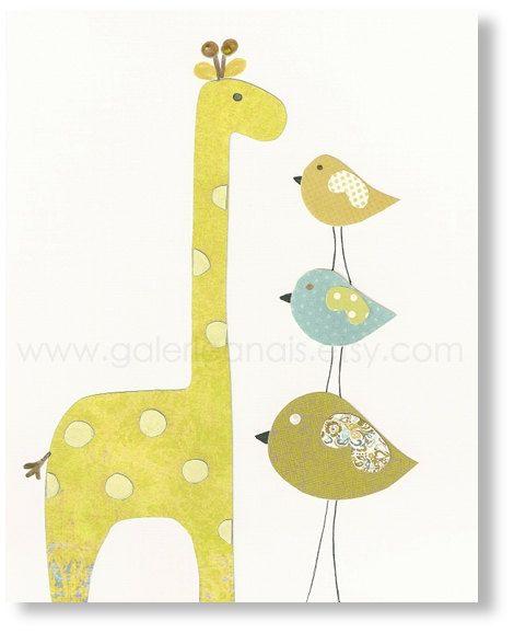 Baby Room Nursery Art, Children Decor, nursery giraffe, kids giraffe, nursery birds, kids birds, Taller than You 8x10 print. $14.00, via Etsy.