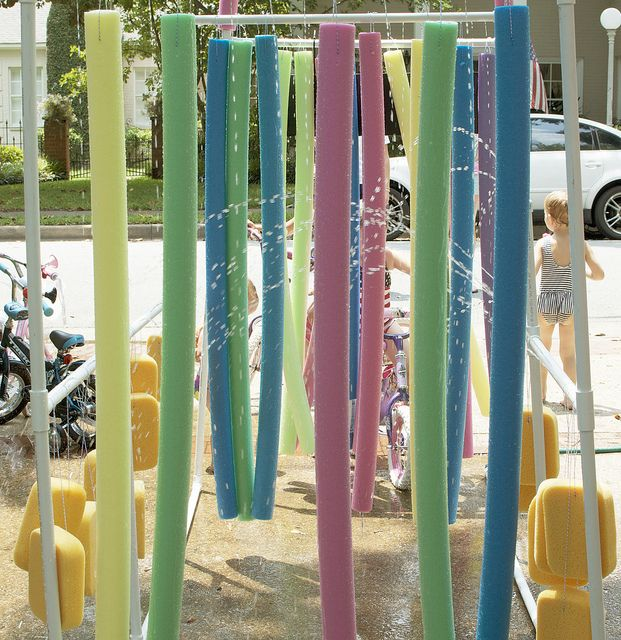 fun with water and pool noodles