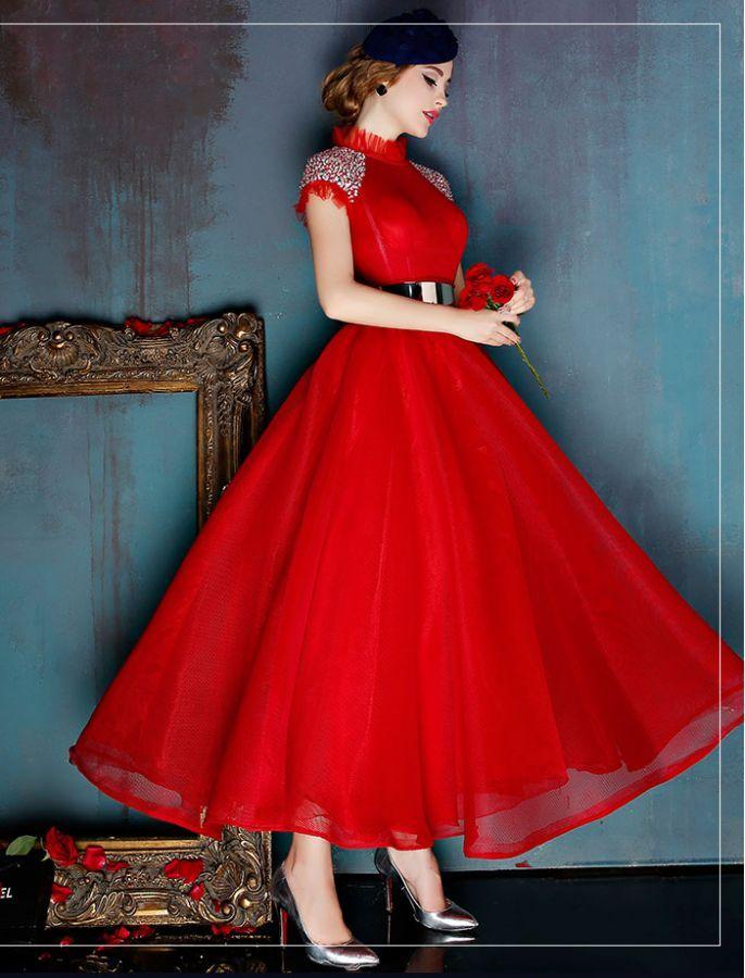 High Collar Vintage Inspired Prom Dress