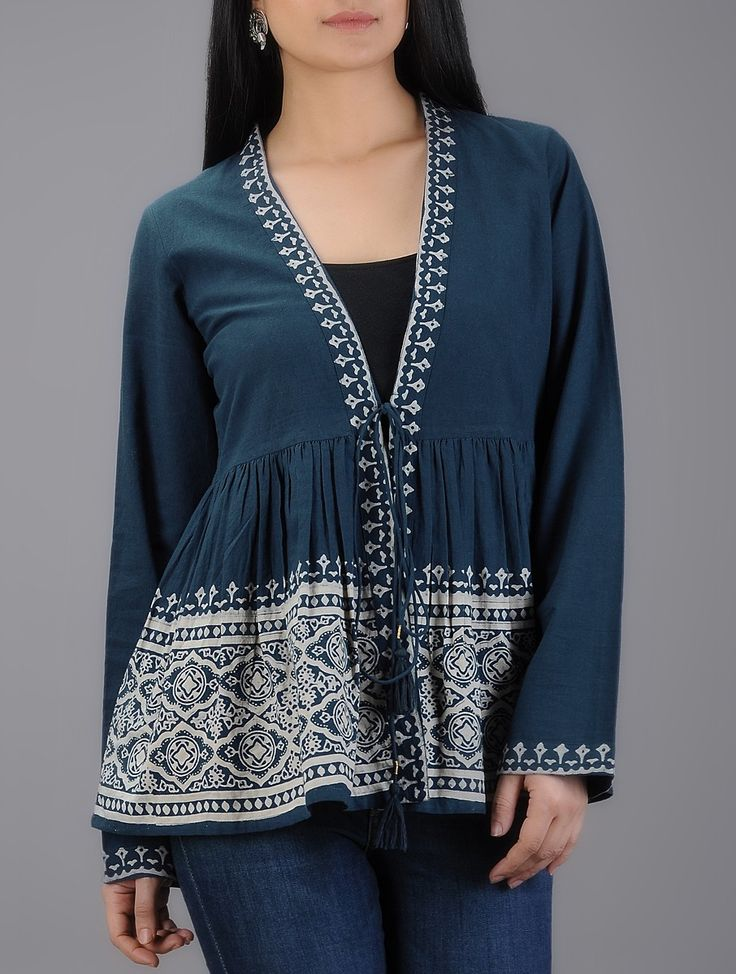 Buy Blue Ivory Block printed Elasticated Tie up Waist Cotton Kedia Shrug Women Shrugs Online at Jaypore.com