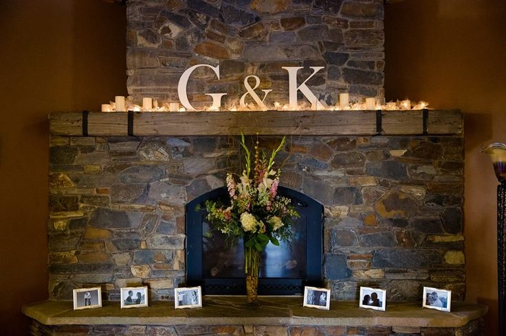 Wedding Fire Mantle Decor. Our initials
