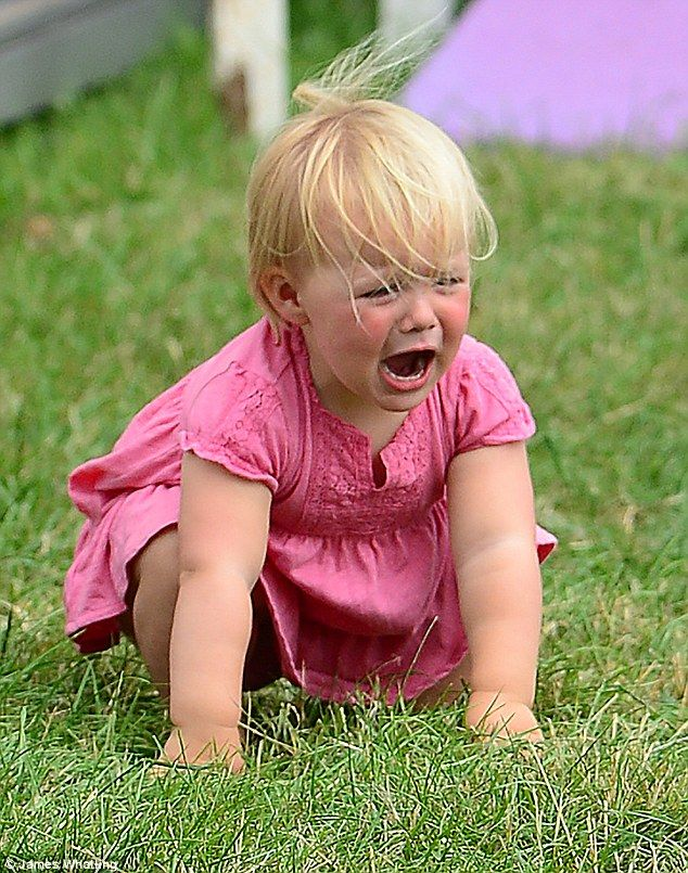 A royal temper tantrum: Adorable Mia Tindall looked a tad unhappy today as she threw a tantrum at Gatcombe Park, Gloucestershire, during a family day out for the horse trials