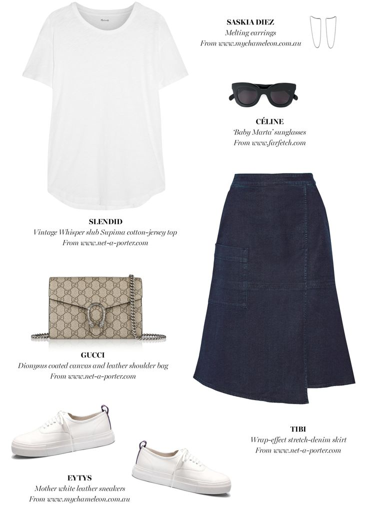 white t-shirt + denim skirt + neutral bag + white sneakers | Outfit Inspiration | Harper and Harley