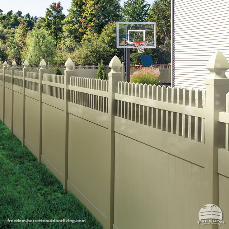 "Open top privacy fence in ""sand"" color. Low maintenance"