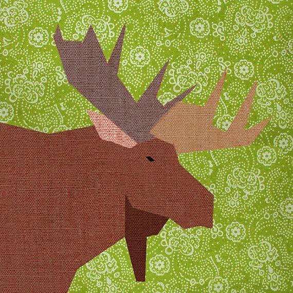 Moose Paper pieced quilt block pattern PDF