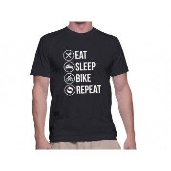 Tricou Capital T Eat Sleep Black