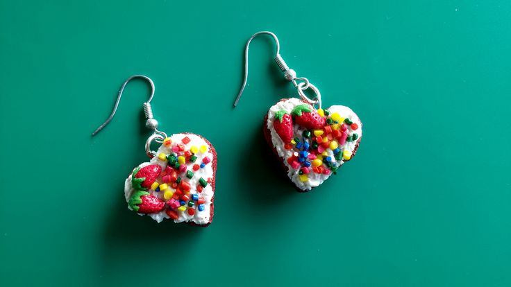 Frosted Polymer Clay Cake heart earrings yummy!!!!