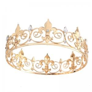 2 Inch Height Gold and Silver Plated Royal Keen Queen Teardrop Rhinestone Fleur De Lis Full Round Crown Tiaras