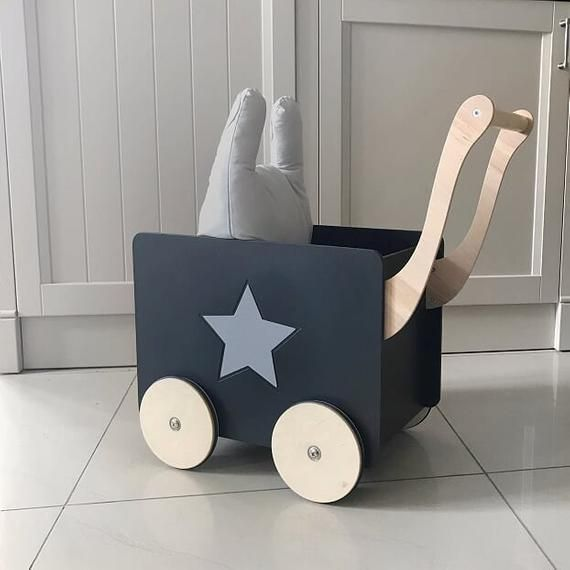 Toy Chest Black Storage Wagon Nursery For Girls Push Toy Boys