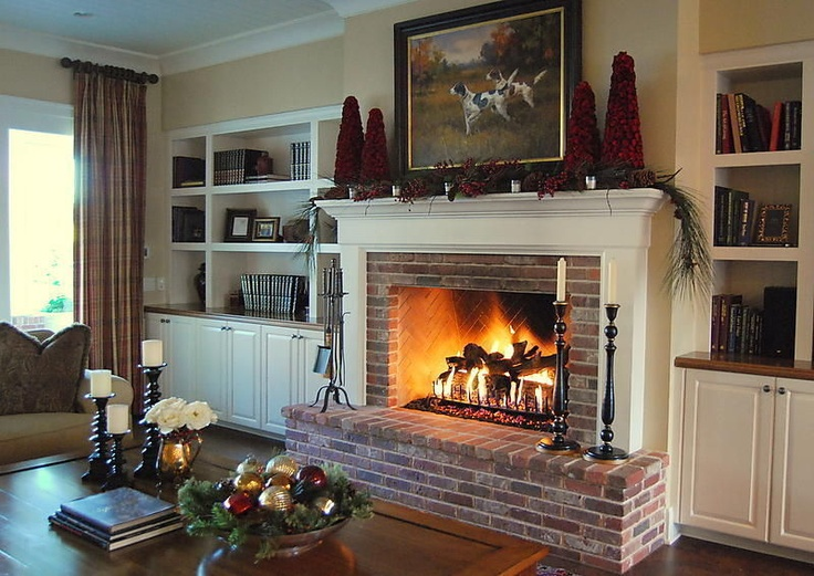 Family Room Brick Fireplace With Ledge For Sitting White Cream Mantel Built
