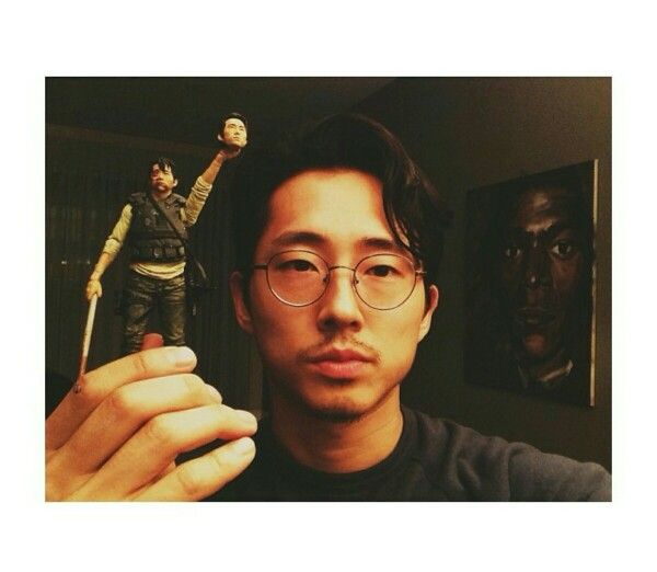 """weird."" ~Steve with his Glen action figure on Instagram haha."
