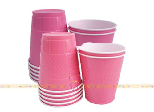 Pink Plastic Cups. These adorable plastic cups are perfect for your next party! We also offer coordinating plates, napkins and cutleries. Visit us at www.wigglegiggle.com