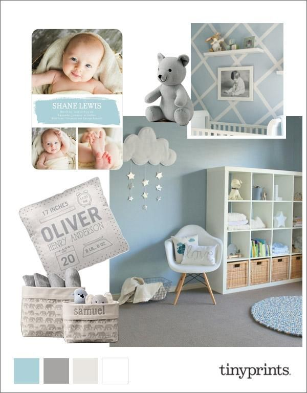 Add a designer touch to your baby boy's new nursery room with this blue and gray color palette, complemented perfectly with our peppermint photo birth announcement.