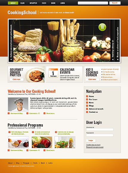 Cooking School Drupal Templates by Modlin