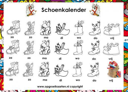 schoenkalender Sinterklaas zwart/wit
