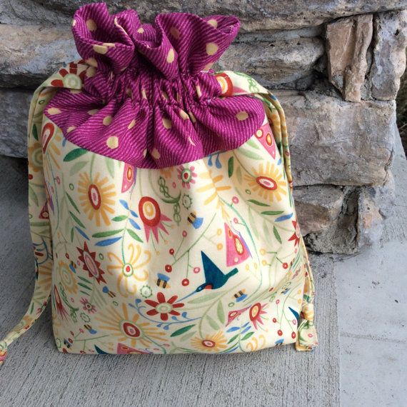 Floral Padded Drawstring Craft Project Bag  Great by KnittersNook