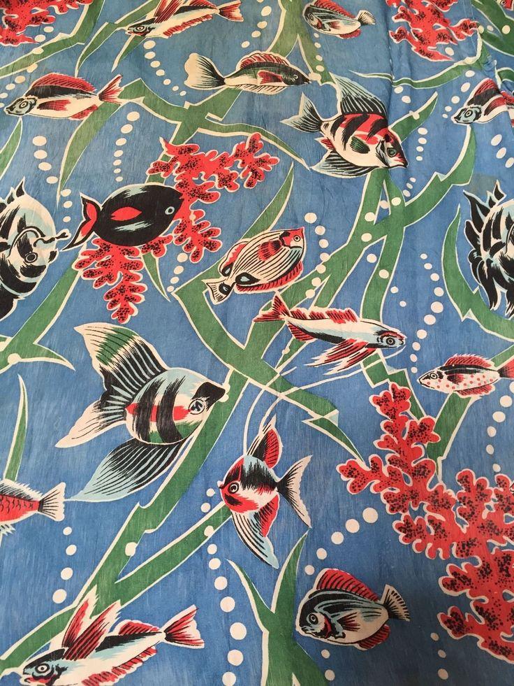 Vintage 1950's Underwater Fish Pattern Rayon Hawaiian Shirt M | eBay