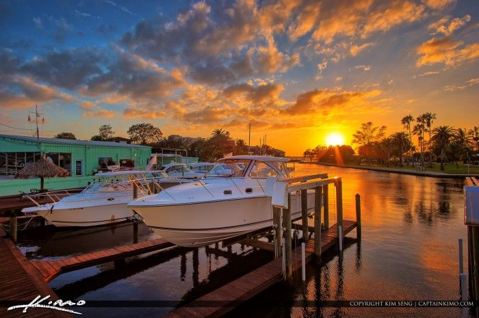 Beautiful sunset at the marina by Shepard Park in Martin County, Florida. HDR image created using EasyHDR and Topaz software.