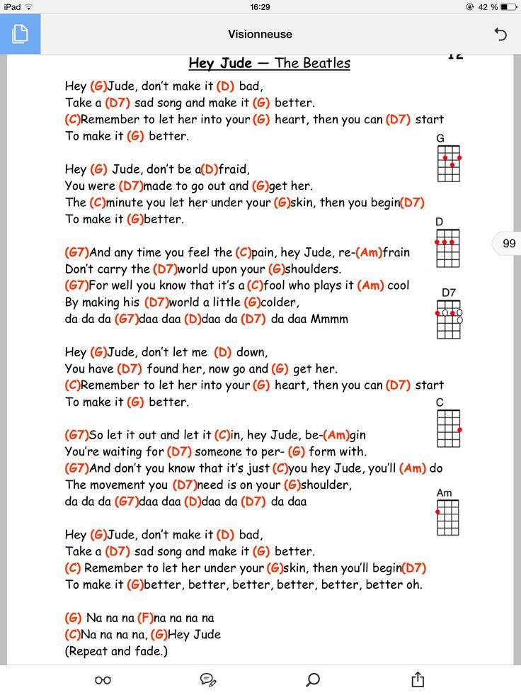 Hey Jude Uke And Me Pinterest Hey Jude, chitarre e canzoni-8241