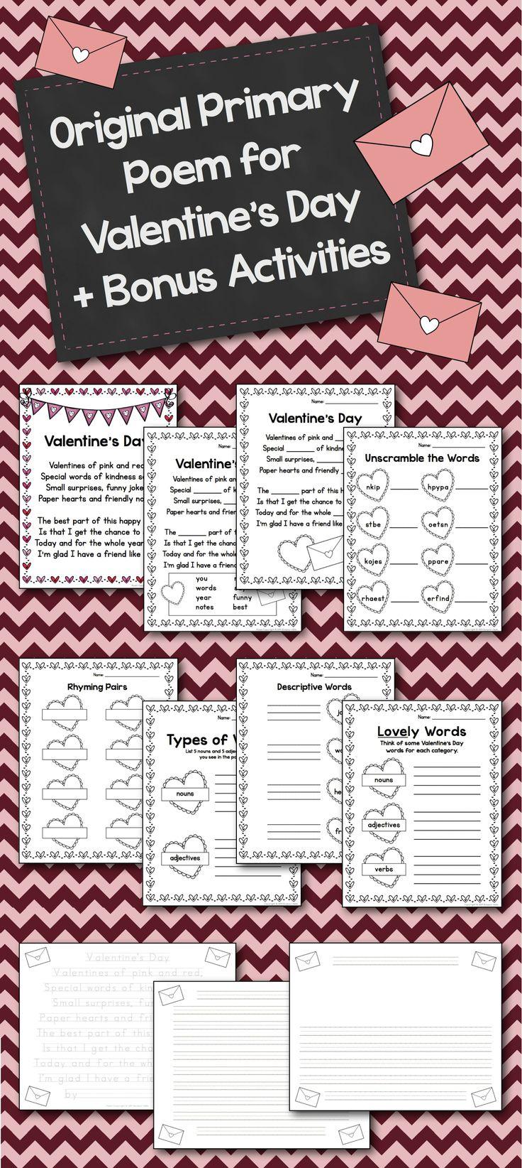 $ Original Primary Poem for Valentine's Day + Bonus Activities by @Jacqueline Bisille-Hello