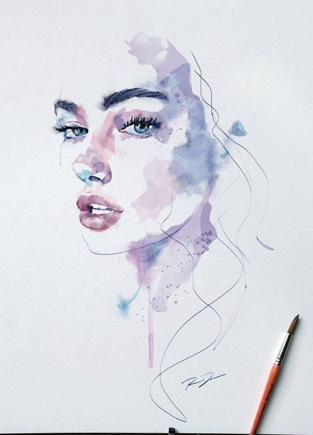 Lillpsycho In 2020 Watercolor Face Watercolor Art Watercolor
