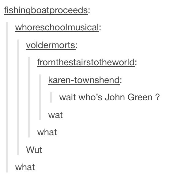 When Tumblr user fishingboatproceeds is John Green....
