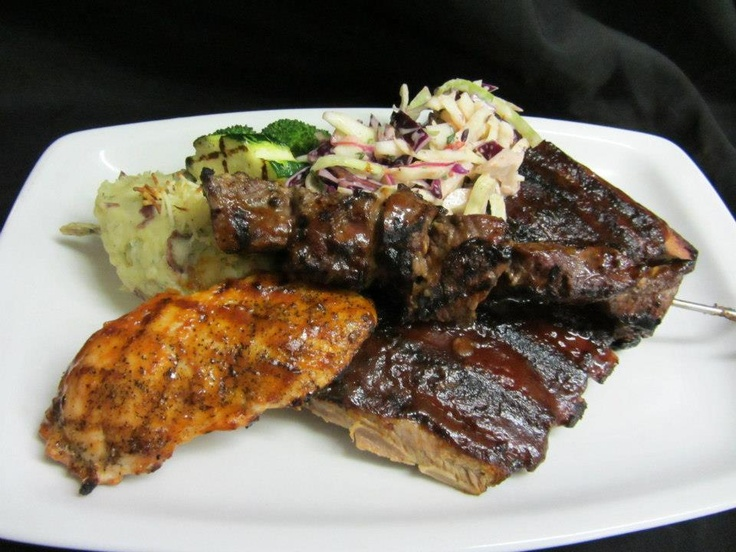 Cattlemen's Club BBQ ribs, grilled chicken breast, sirloin beef skewer   Visit us at 9380 Highway 97 North, Vernon BC or call us at (250) 542 - 2178.